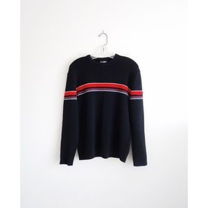 Vintage 70s 80s Black Red Wool Sweater sz L